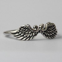 Sterling Silver wings Ring, Angel wings, Bird wings 925 Sterling Silver stacking Ring, Goth Punk Jewelery, Statement ring