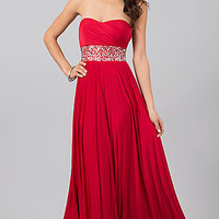 Strapless Red Prom Dress with Lace Up Back
