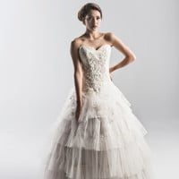 Retro Lace and Tulle Vintage Inspired Wedding Dress in White or Ivory - Couture Wedding Gown