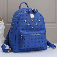 Onewel MCM Fashino Women Men Backpack Bag Print Rivet Bag Blue