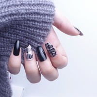 24Pcs Long Coffin Nails Christmas New Year Fake Nails With Design Artificial Nail Tips with Glue Sticker Faux Ongles Gift