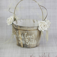 Here Comes The Bride Flower Girl Basket Rustic Country Wedding (Item Number 130096)