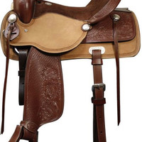 Saddles Tack Horse Supplies - ChickSaddlery.com Double T Pleasure Style Saddle With Basketweave & Floral Tool Fenders