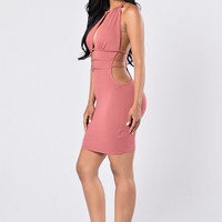 Hanging From A String Dress - Mauve