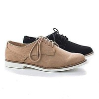 Tiller By Soda, Women's Round Toe Classic Lace Up Flat Oxfords
