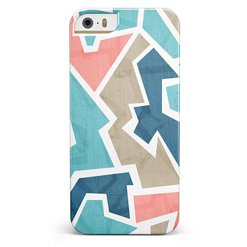 Blue, Pink, and Tan Sections iPhone 5/5s or SE INK-Fuzed Case