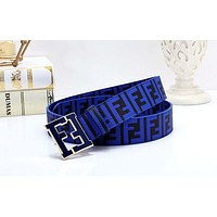 Fendi Tide brand men and women retro color double F letter smooth buckle belt #1