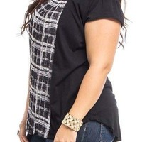 SHORT SLEEVE FRONT PLEATED CONTRAST PLUS SIZE TOP