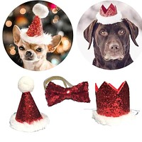 Christmas Pet Party Bow Tie and Cap