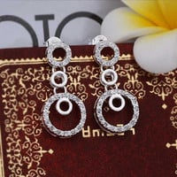silver plated Earing Sterling Silver Jewelry Insets Multi Circle stud Earrings 372