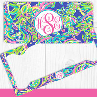 Aqua Tropical Monogram License Plate Frame Holder Metal Wall Sign Tags Personalized Custom Vanity