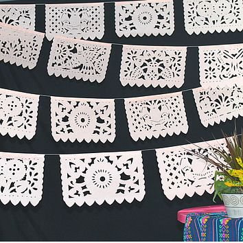 5 Pk Peach Papel Picado Banners, 60 feet long WS75
