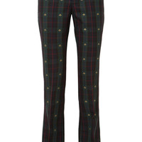 Gucci - Embroidered checked wool flared pants
