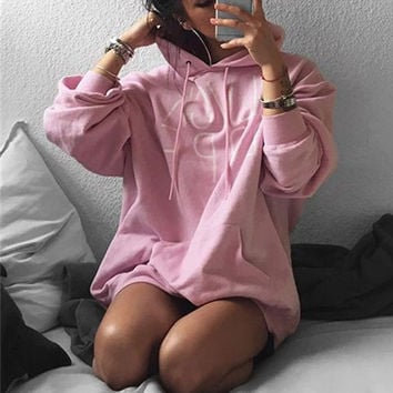 Women Letter Print Pullover Top Sweater Hoodie Sweatshirt