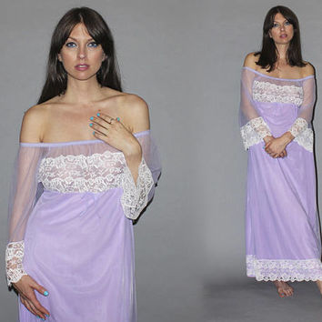 Vintage 70s Sexy OFF THE SHOULDER Lingerie / Dreamy Lavender Chiffon, Lace Nightie / Empire Waist, Angel Sleeve / Bridal Wedding Negligee