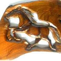 """Wood Carving Horse Rustic Driftwood Reclaimed Hand Carved Teak Wood Natural Wild Horse Wall Hanging Art Home Decor / Gift 14"""" x 10"""""""