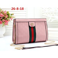 GUCCI tide brand female classic double G embossed chain bag shoulder bag Pink