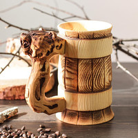 Bear Wooden Personalized Beer Mug Tankard Stein Cup Barrel Hand Carved Cedar Wood Gifts (0.7/23.6 oz)