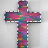 ABSTRACT & BLING Wall Cross- colorful handpainted cross in a pink, teal, purple,yellow blend w/ clear rhinestones