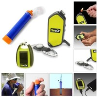 Camping/ Hiking/ Fishing/ Biking/ Hunting Gear Survival Equipment Kit - Includes Hand Crank Dynamo Powered Rainproof 2 LED Flashlight / fuel less Fire igniter / Compass / whistle / - Solar Powered Portable Cell phone charger / Power Bank - Jumbl Personal W