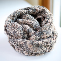 Fall Winter Mixed Brown Gray Coffee Knitted Wrap Around Infinity Scarf, Neckwarmer, Cowl