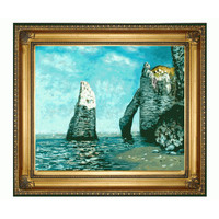 The Cliffs At Etretat By Claude Monet: 24 X 20 Oil Painting Reproduction With Regency Gold
