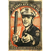 SATIRICAL RETRO COP POSTER WITH BILLY CLUB POSTER colorful in uniform 24X36-UW0