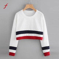 FEITONG Women's sweatshirt Sexy Striped Stitching Long Sleeve Short Jumper Pullover Tops Blouse Autumn Winter Sweatshirt Female