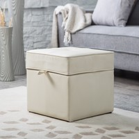 Tova Faux Leather Storage Ottoman - Cream | www.hayneedle.com