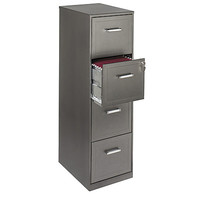 """Realspace® 4-Drawer File Cabinet, 46 3/8""""H x 14 1/4""""W x 18""""D, 30% Recycled, Metallic Charcoal Item # 940511"""