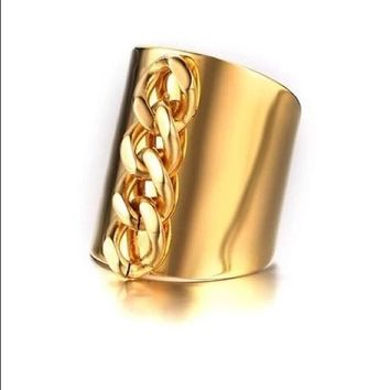 Stainless Steel Gold Link Chain Women's Ring