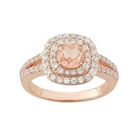 Peach Quartz Doublet & Cubic Zirconia 18k Rose Gold Over Silver Halo Ring (Pink)