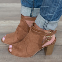 Peep Toe Open Back Bootie - Cognac