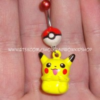Pokeball with Pikachu Bell Belly Ring