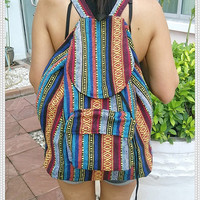 Aztec Woven Backpack Boho Hippie Ethnic Rucksack Hipster Gypsy Tribal Hmong Shoulder Nepali Pattern Bags Hippie Purse Tapestry Handmade