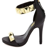 Super-Studded Single Strap Heels by Charlotte Russe