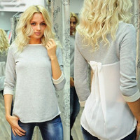 Fashion Women Lady Loose Chiffon Cotton Tops Long Sleeve Shirt Casual Blouse = 1930366852
