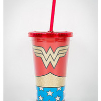 Wonder Woman Logo Glitter Cup with Straw - Spencer's