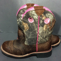 Ariat Fatbaby Green & Brown Camouflage Cowgirl Western Cowboy Boots Women's Sz 10