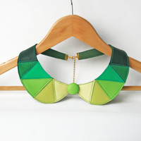 Peter Pan Collar Shades of Green Leather Collar Bib Necklace Statement Leather Necklace Geometric