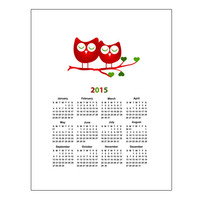 Owls 2015 Calendar holiday decor  printable  wall calendar instant download gift wall calendar calendar gift  holidays  11x14 inch