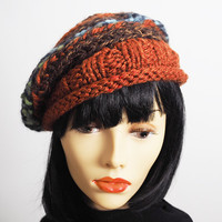 Rust crochet cloche - Chunky knit hat - Multicolor beanie - Brown hat - Woman knit hat - Ready to ship - Teen girl hat - Woman warm hat