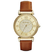 Michael Kors Catlin Luggage Leather Strap Goldtone Watch