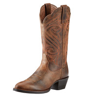 Ariat Womens Round Up J Toe Burnished Brown Cowgirl Boot