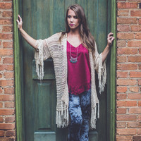 Knitted Fringe Cardigan in Tan