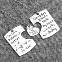 3pcs Father, Mother and Daughter Pendant Necklace set.
