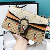 Hipgirls GUCCI & Disney New fashion more letter mouse print leather shopping leisure chain shoulder bag crossbody bag