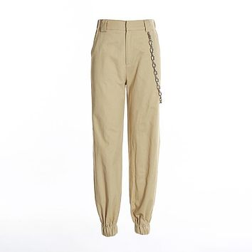 Hot-selling Fashion Loose Casual Cotton Pocket Chain Women Cargo pants