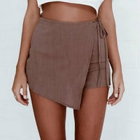 Boho Irregular Bow Tie Shorts B007795