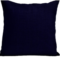 Navy Burlap Nautical Pillow Case Handmade Couch Cushion
